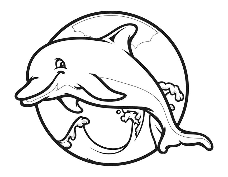 Раскраска Счастливый дельфин. Скачать .  Распечатать