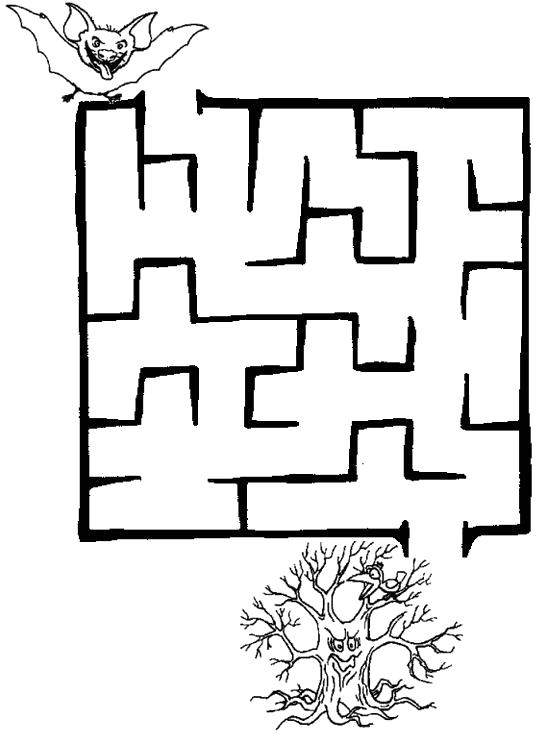 Раскраска лабиринт, летучая мышь и дерево. Скачать лабиринт.  Распечатать лабиринт