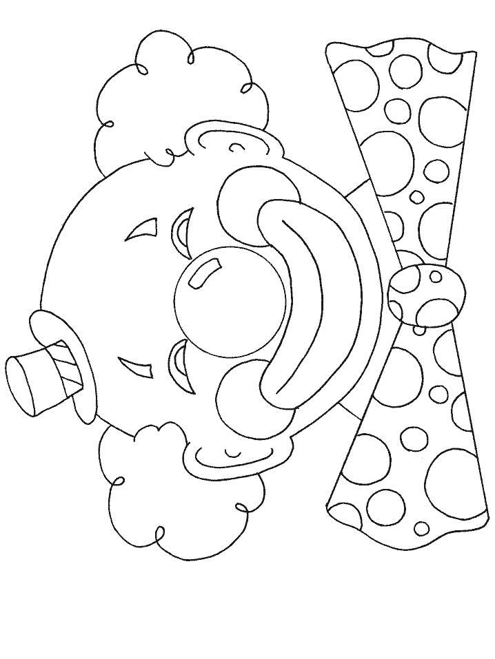 Раскраска  Клоун с бантиком. Скачать клоун.  Распечатать клоун