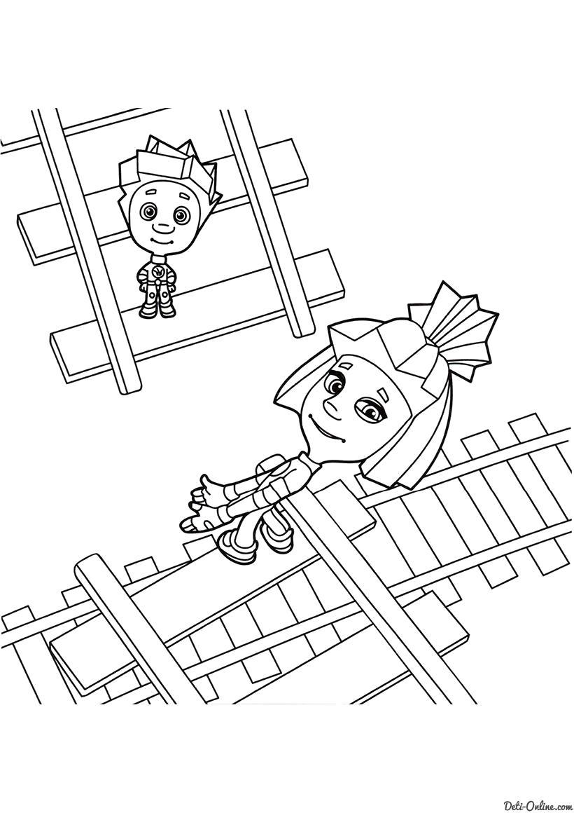 Раскраска  Нолик  и Симка на рельсах. Скачать Нолик, Симка.  Распечатать Фиксики