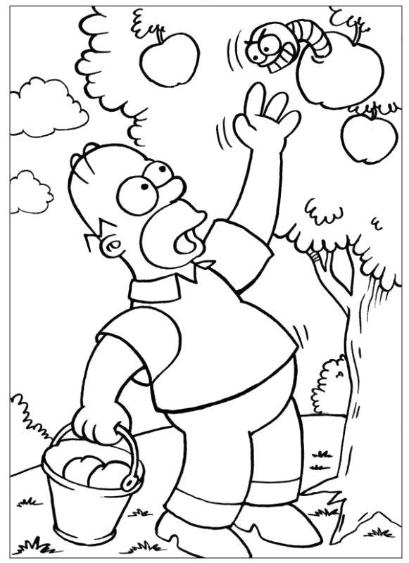 Раскраска Гомер в саду. Скачать Симпсоны.  Распечатать Симпсоны