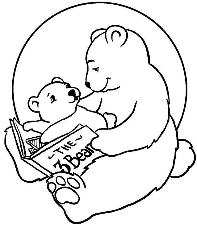 Раскраска Мама медведица читает малышу. Скачать .  Распечатать