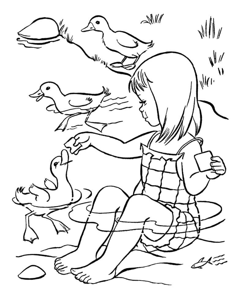 Раскраска  лето девочка сидит в луже, девочка купается с утятами. Скачать Лето.  Распечатать Лето