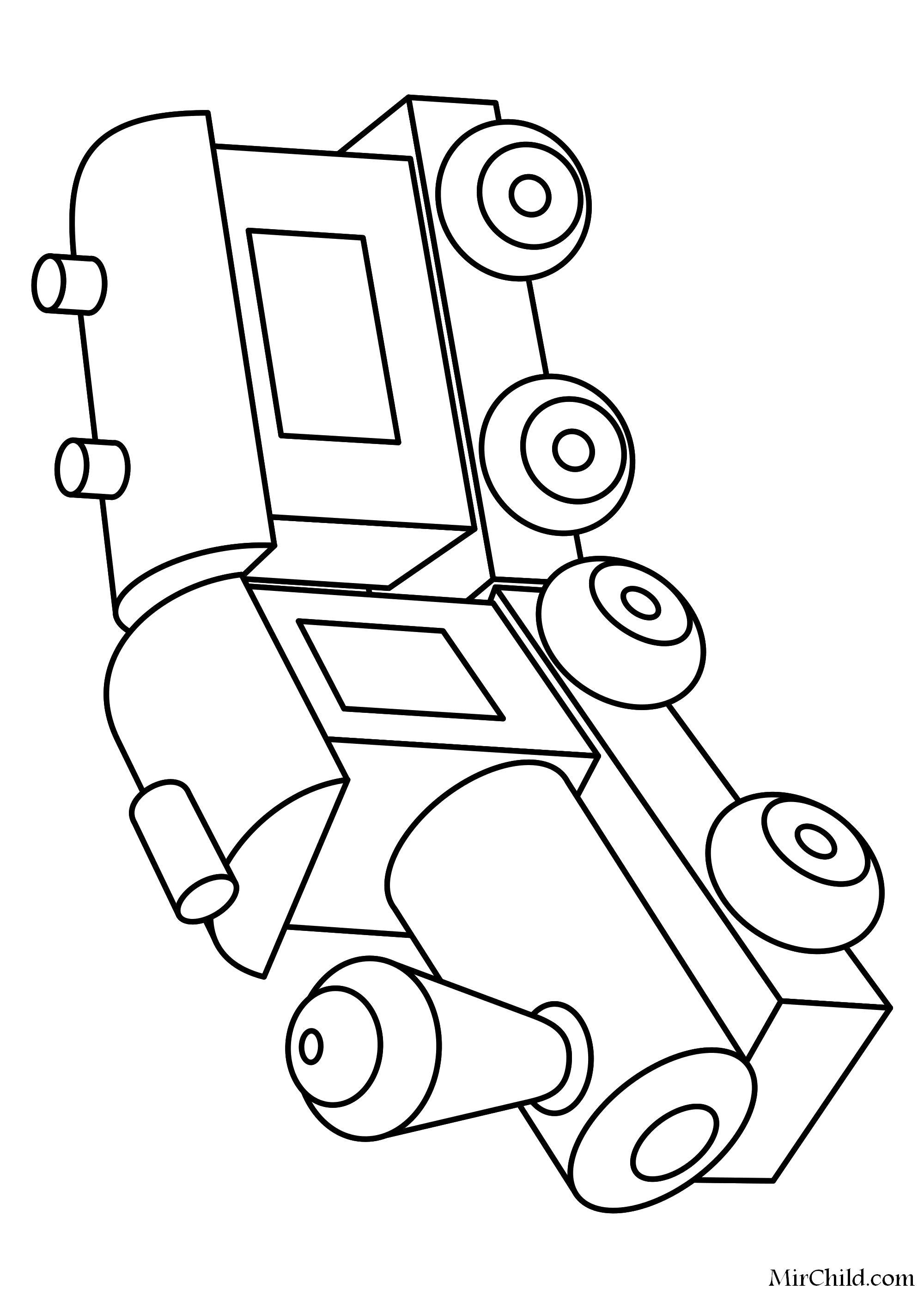 Раскраска  Игрушка паровозик с вагоном. Скачать паровозик.  Распечатать паровозик