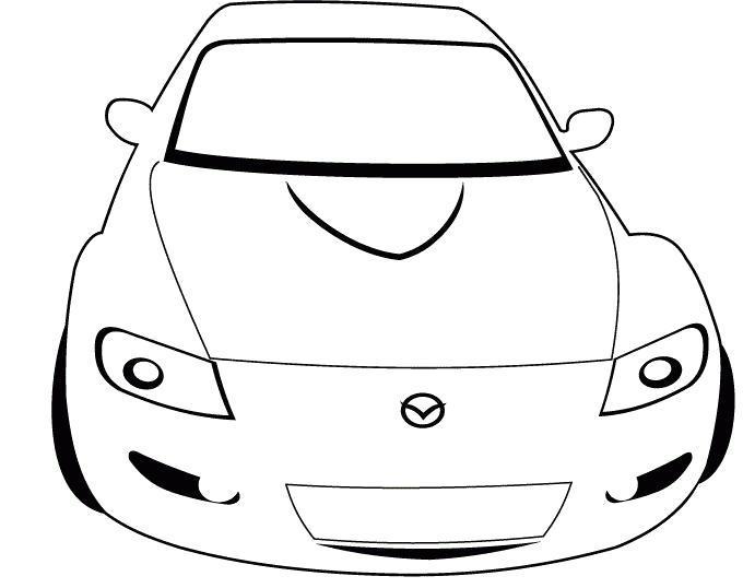 Раскраска  автомобиля Mazda. Скачать Машины.  Распечатать Машины
