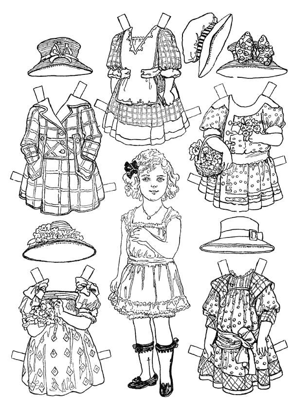 Раскраска  бумажная Кукла  с одеждой для вырезания. Скачать одень куклу.  Распечатать одень куклу
