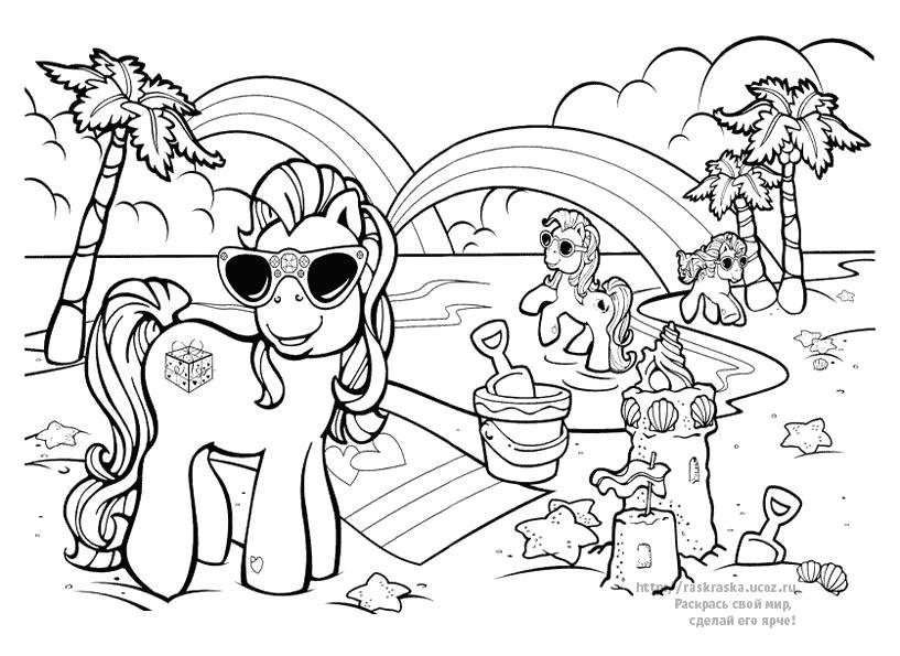 Раскраска радуга. Скачать пони.  Распечатать пони
