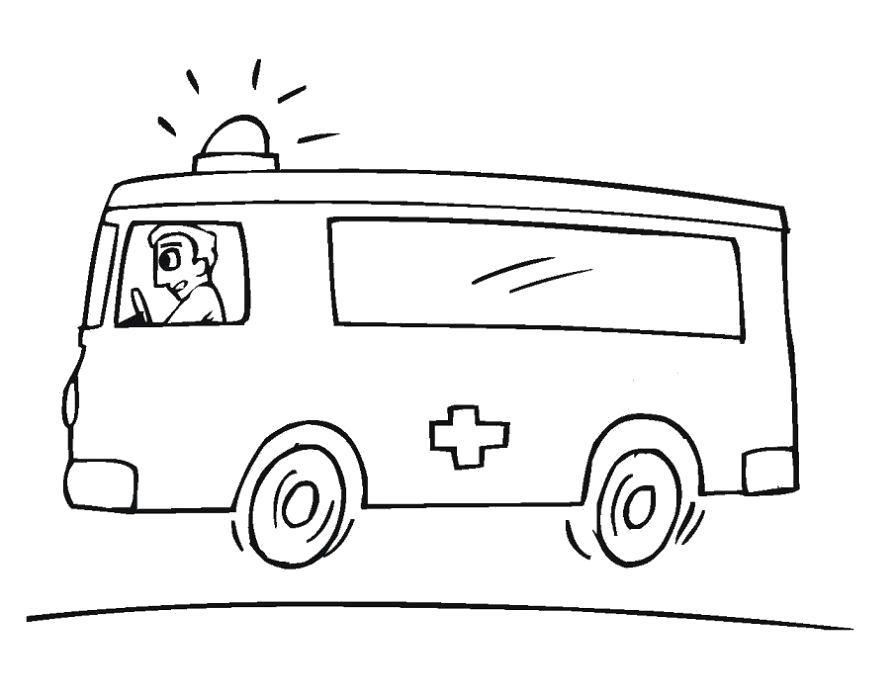 Раскраска  скорая помощь детская. Скачать Скорая Помощь.  Распечатать Скорая Помощь
