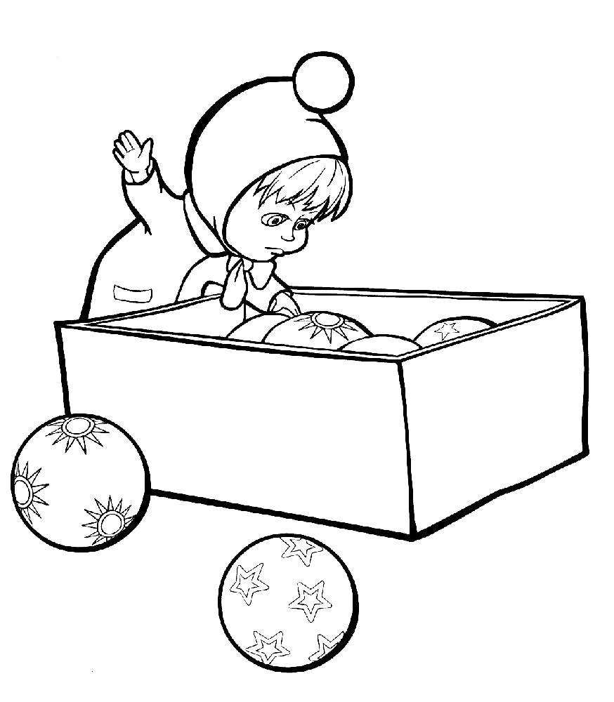 Раскраска  новогодние маша, , новогодние игрушки. Скачать маша.  Распечатать Маша и медведь