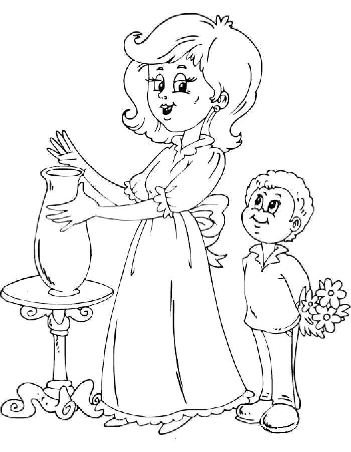 Раскраска  ко Дню Матери, мальчик дарит маме цветы. Скачать ко дню матери.  Распечатать ко дню матери