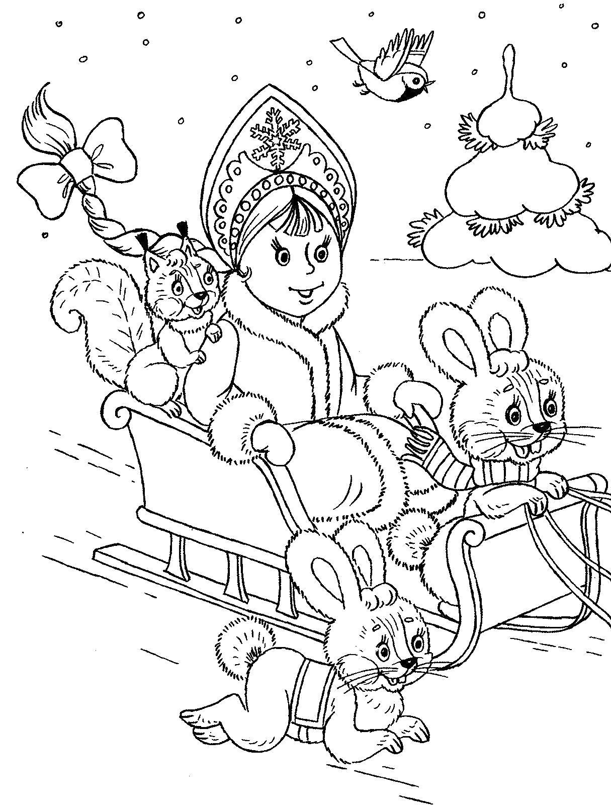 Раскраска Рисунки для витражных красок, новый год, снегурочка, белочка, зайцы . Скачать снегурочка.  Распечатать Снегурочка