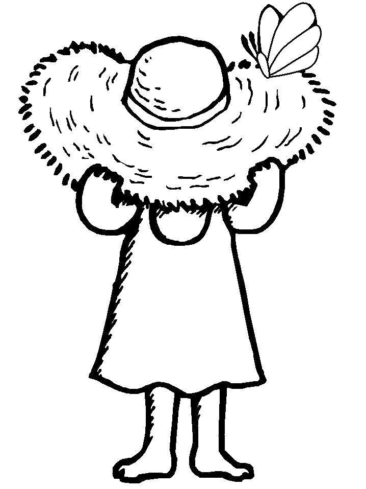 Раскраска  Девочка в соломенной шляпе. Скачать Девочка.  Распечатать Девочка