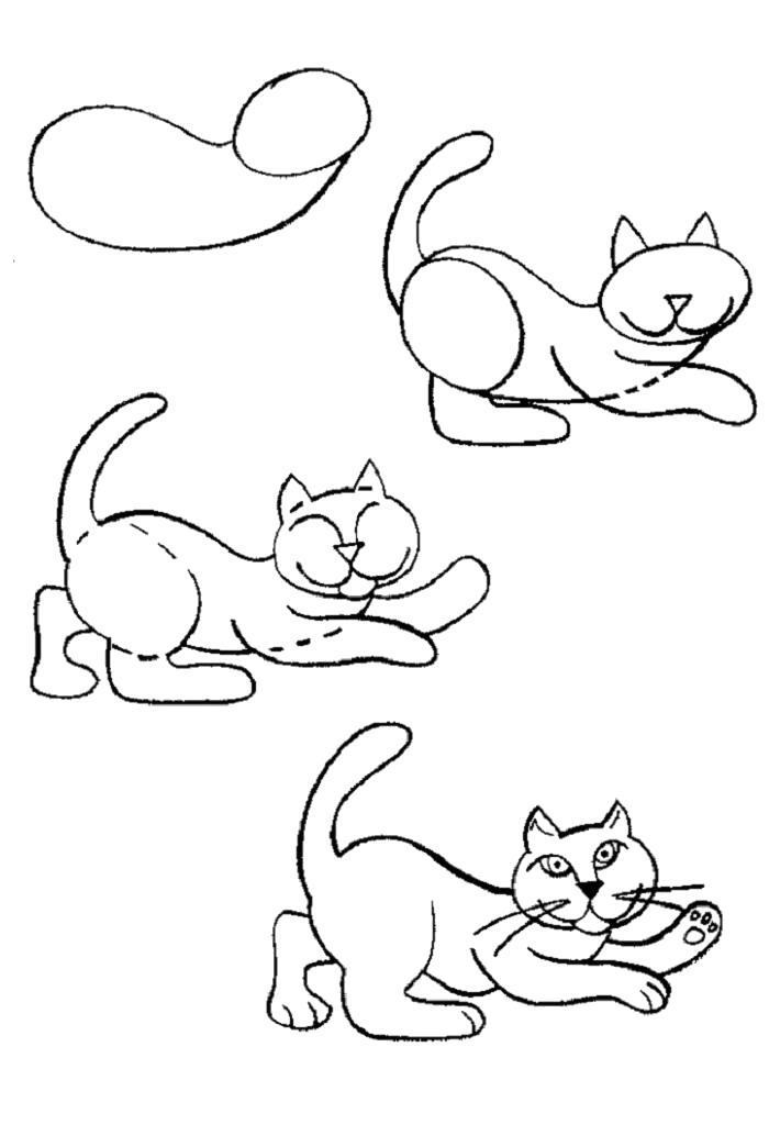 Раскраска котик играется как нарисовать. Скачать Как нарисовать.  Распечатать Как нарисовать