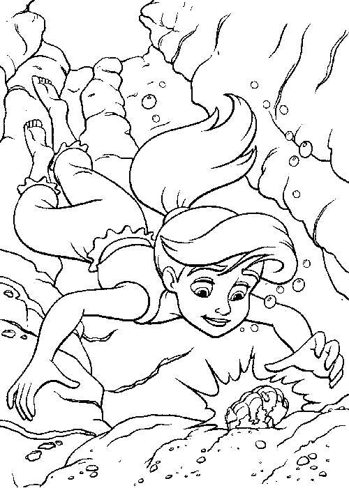 Раскраска Ариэль малышка. Скачать Ариэль.  Распечатать Ариэль