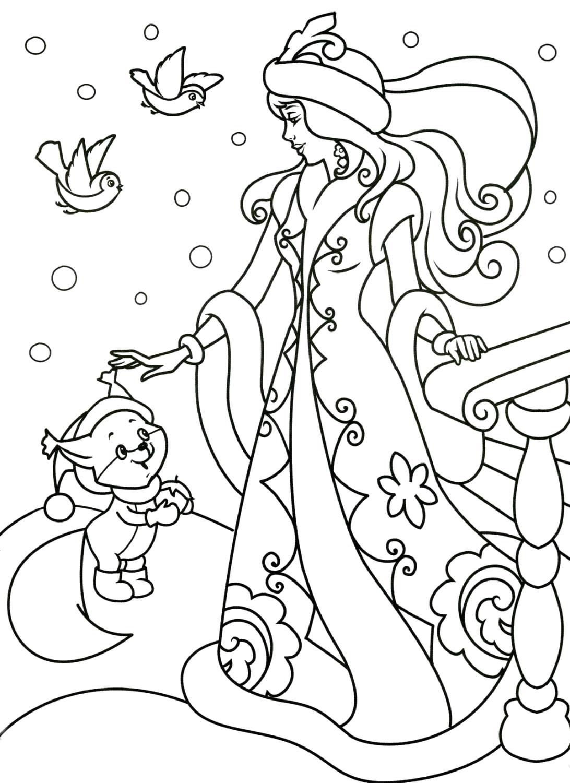 Раскраска Снегурочка и белочка. Скачать .  Распечатать