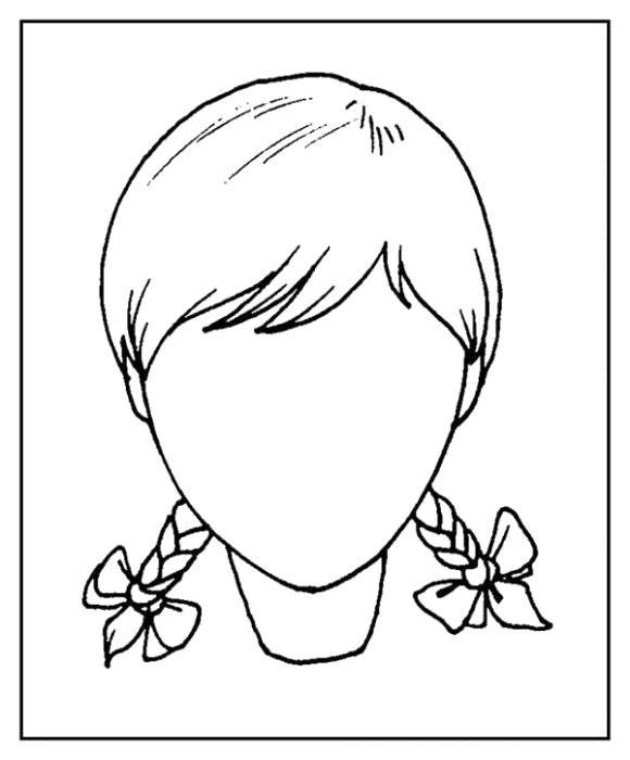 Раскраска Лицо для девчоки. Скачать развивающие.  Распечатать развивающие