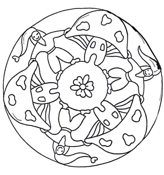 Раскраска Мандала с грибками. Скачать Мандалы.  Распечатать Мандалы