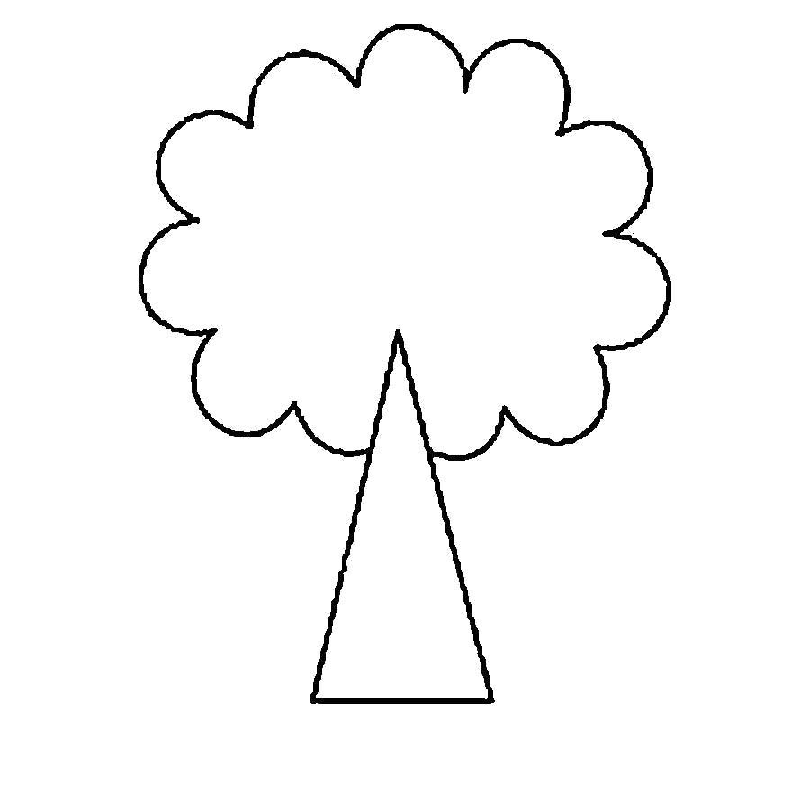 Раскраска  Деревья для вырезания из бумаги треугольник стебель  дерева для вырезания. Скачать треугольник.  Распечатать геометрические фигуры