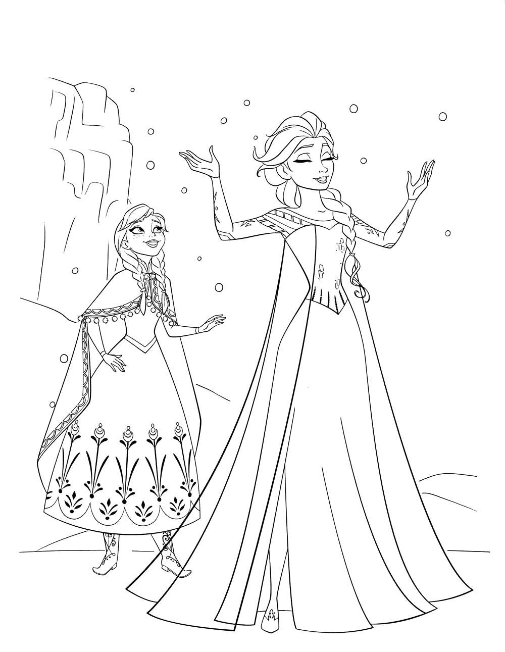 Раскраска  холодное сердце эльза и принцесса анна и снег. Скачать Эльза.  Распечатать Эльза