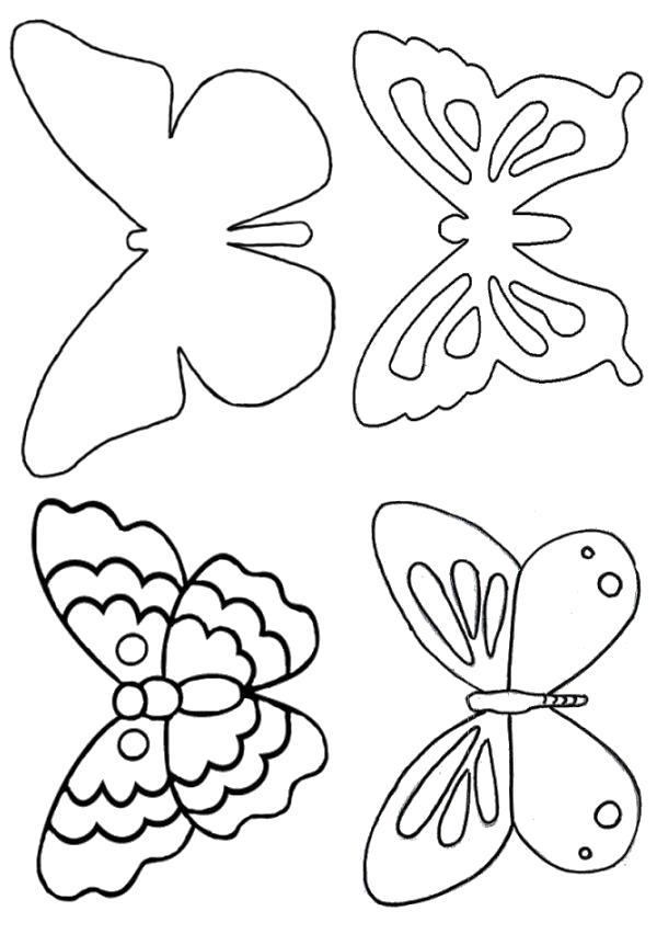 Раскраска трафарет бабочки на стену. Скачать Трафарет.  Распечатать Трафарет