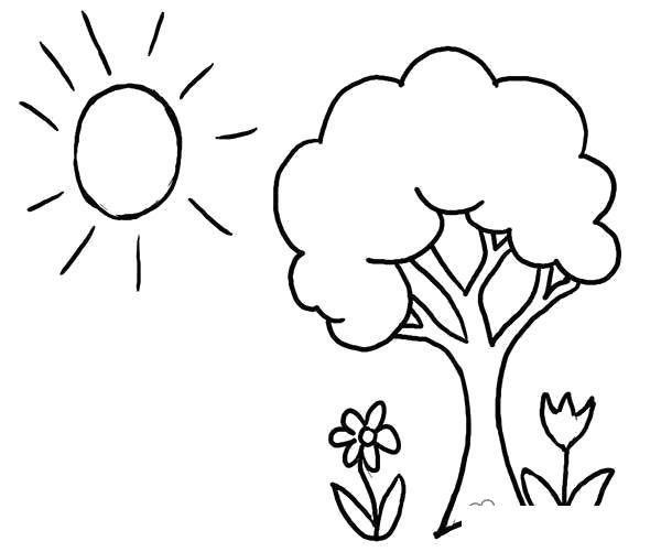 Раскраска Дерево  солнце  лето деревце цветочки солнышко  распечатать. Скачать дерево.  Распечатать растения