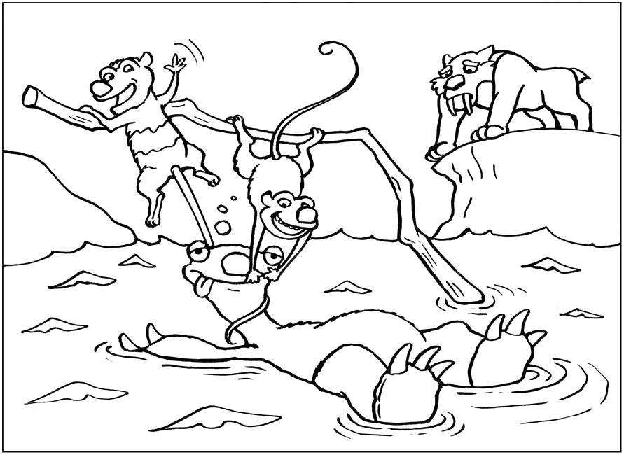 """Раскраска  """"Ледниковый период"""", крыш и эди спасают ленивца, тигр сид стоит на льдине. Скачать .  Распечатать"""