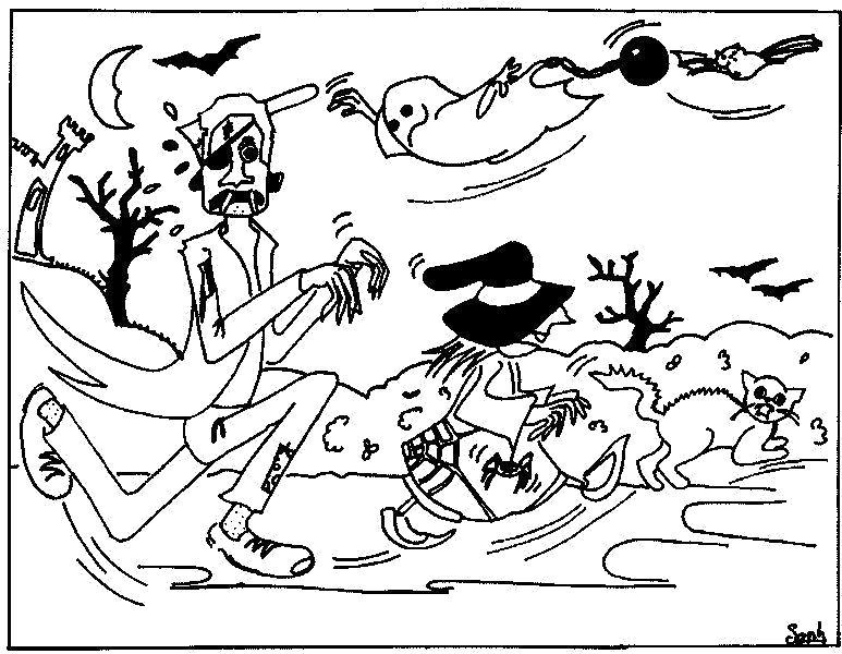 Название: Раскраска Ужасы на хэллоуин. Категория: Хэллоуин. Теги: чудовище, ужасы, монстр, тыква на хэллоуин.