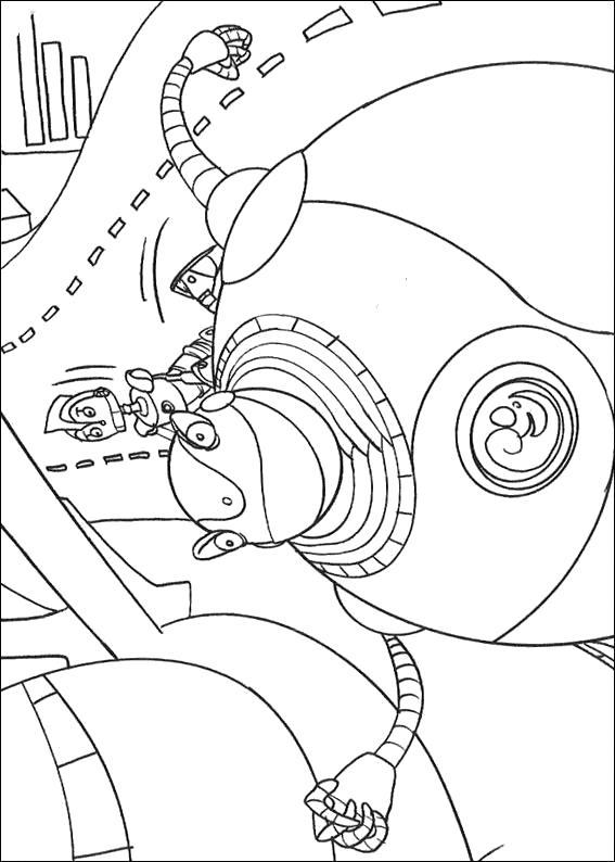 Раскраска роботы в дороге. Скачать Робот.  Распечатать Робот