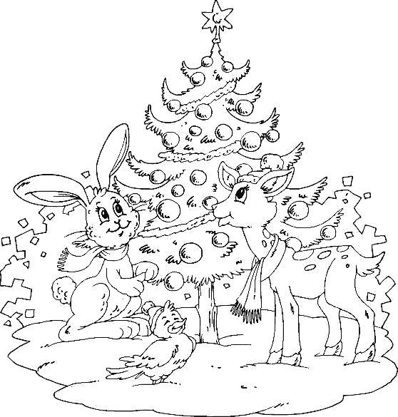 Раскраска олененок и зайчик у елки. Скачать новогодние.  Распечатать новогодние