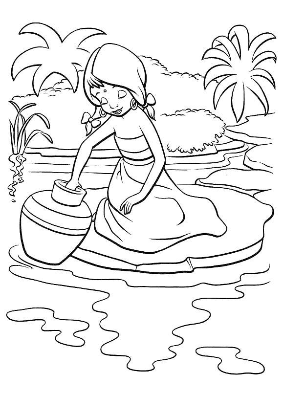 Раскраска Девочка набирает воды. Скачать книга джунглей.  Распечатать книга джунглей