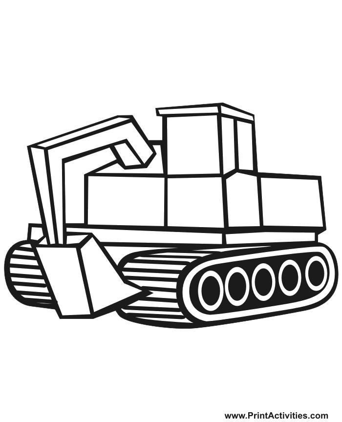 Раскраска Гусеничный трактор, машины, строительные машины. Скачать .  Распечатать