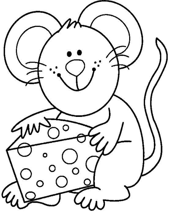 Раскраска Мышка с сыром. Скачать .  Распечатать
