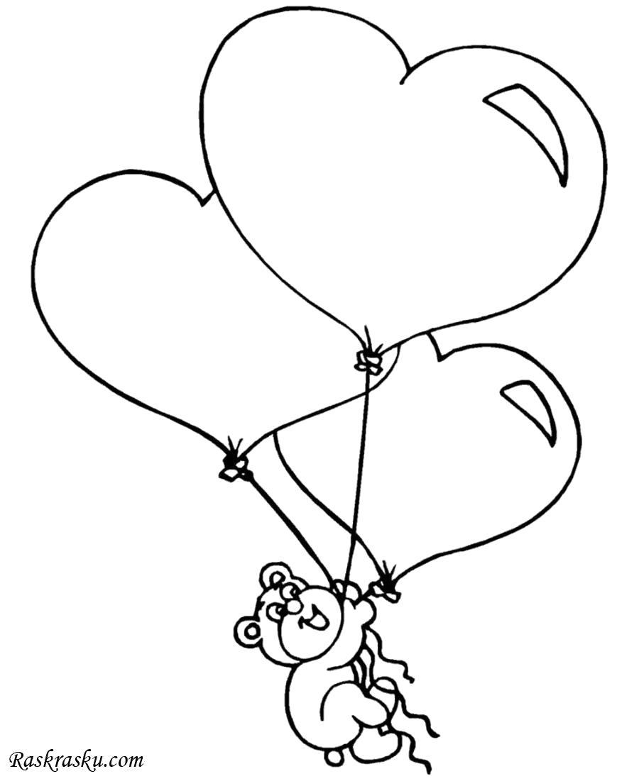 Раскраска Шарики в форме сердца. Скачать день Святого Валентина.  Распечатать день Святого Валентина