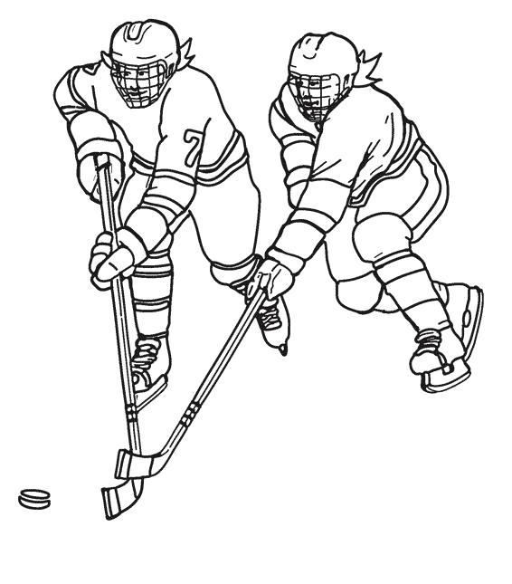 Раскраска Борьба хоккеистов за шайбу . Скачать .  Распечатать