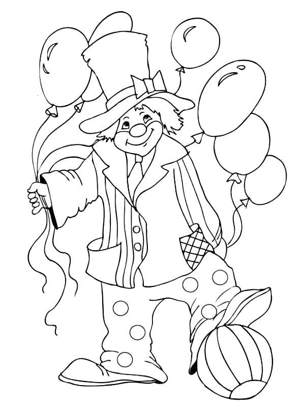 Раскраска Клоун с шариками. Скачать цирк.  Распечатать цирк