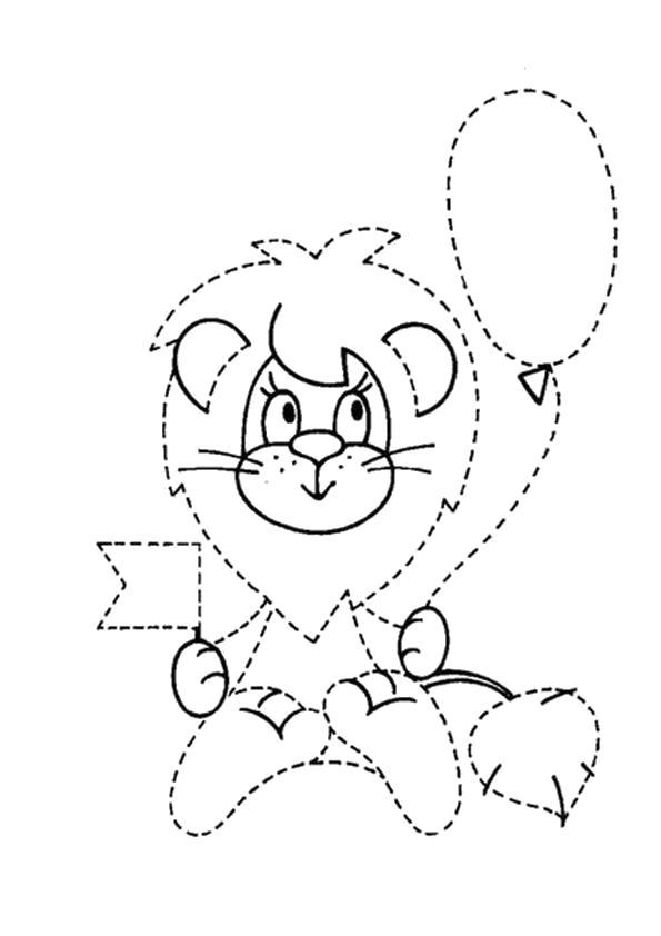Раскраска обводилка львенок. Скачать по точкам.  Распечатать по точкам