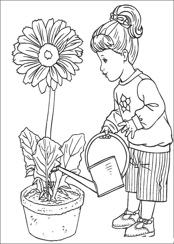 Раскраска  Девочка поливает цветок. Скачать Цветок.  Распечатать Цветок