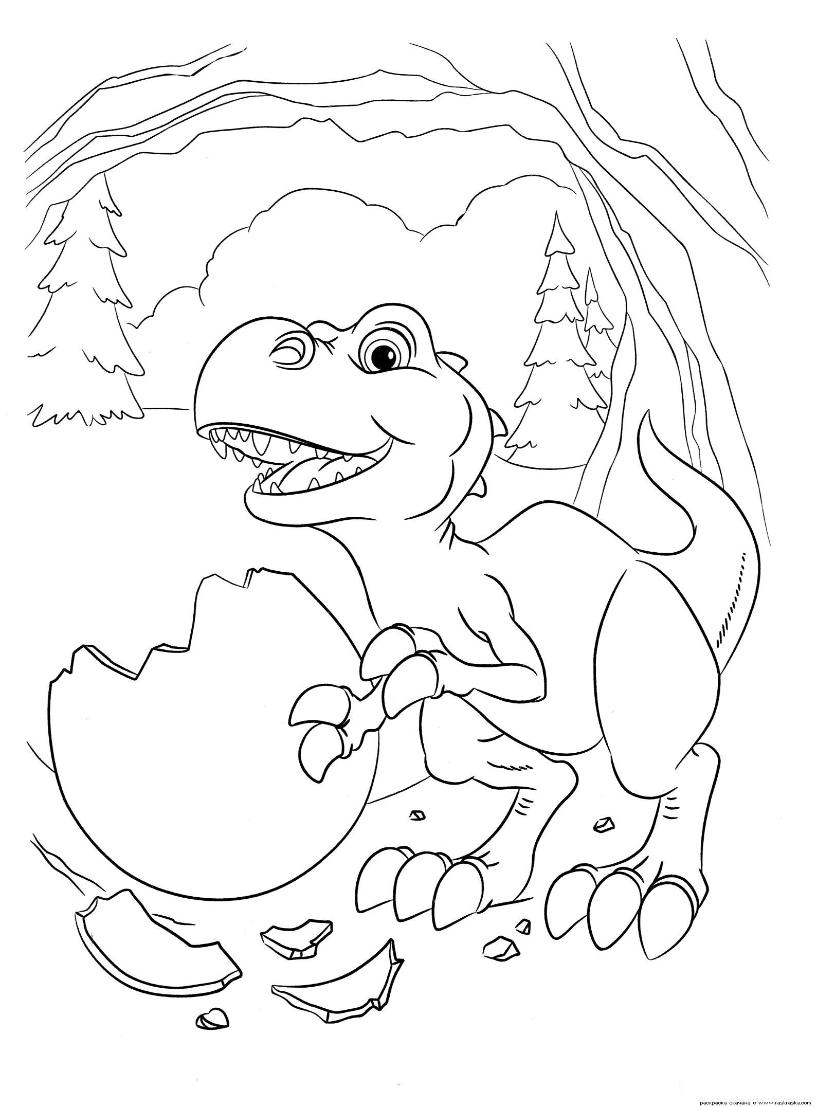 Раскраска  Малыш динозаврик.   динозавр, разукрашка яйцо, скорлупа, картинки из мультика Ледниковый период 3 Эра динозавров для раскрашивания. Скачать динозавр.  Распечатать динозавр