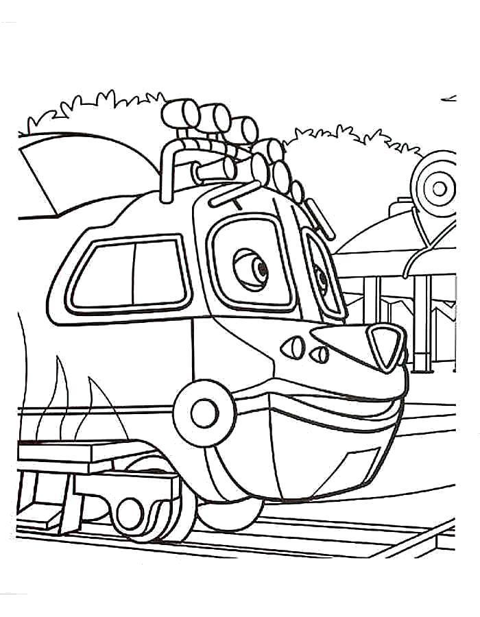 Раскраска  Чаггингтон, паровозик. Скачать Чаггингтон.  Распечатать Чаггингтон