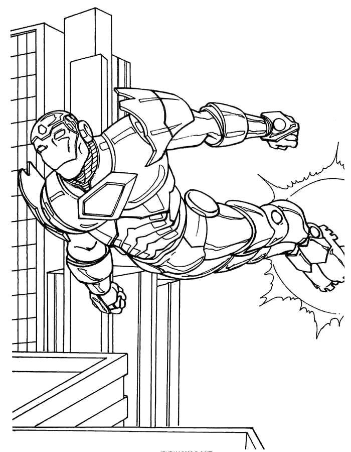 Раскраска - Железный человек над городом. Скачать .  Распечатать