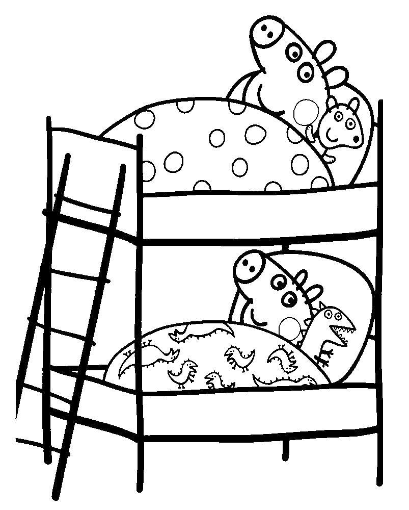 Раскраска Спокойной ночи. Скачать Свинка Пеппа.  Распечатать Свинка Пеппа