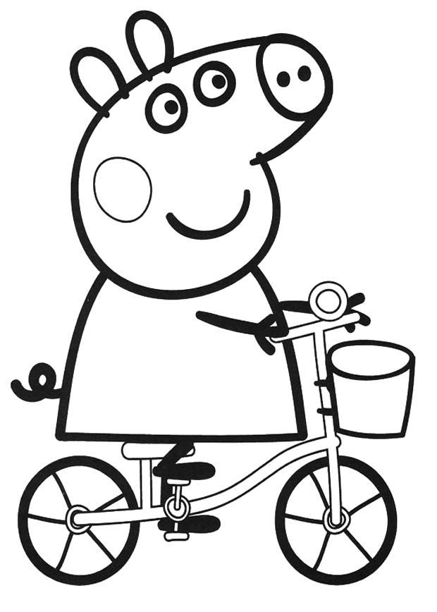 Раскраска Пеппа на велосипеде. Скачать Свинка Пеппа.  Распечатать Свинка Пеппа