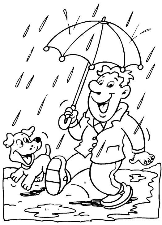 Раскраска Любимый дождик. Скачать дождь.  Распечатать дождь
