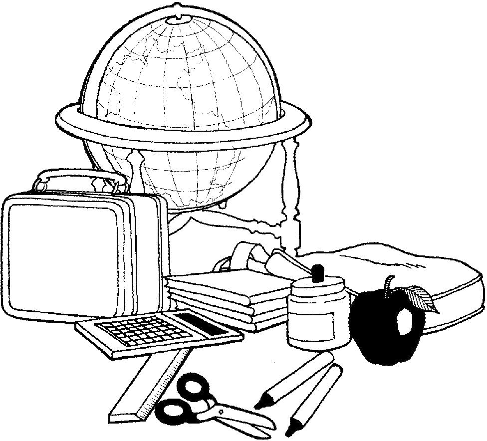 Раскраска  о школе. Глобус и школьные принадлежности. Скачать Школа.  Распечатать Школа