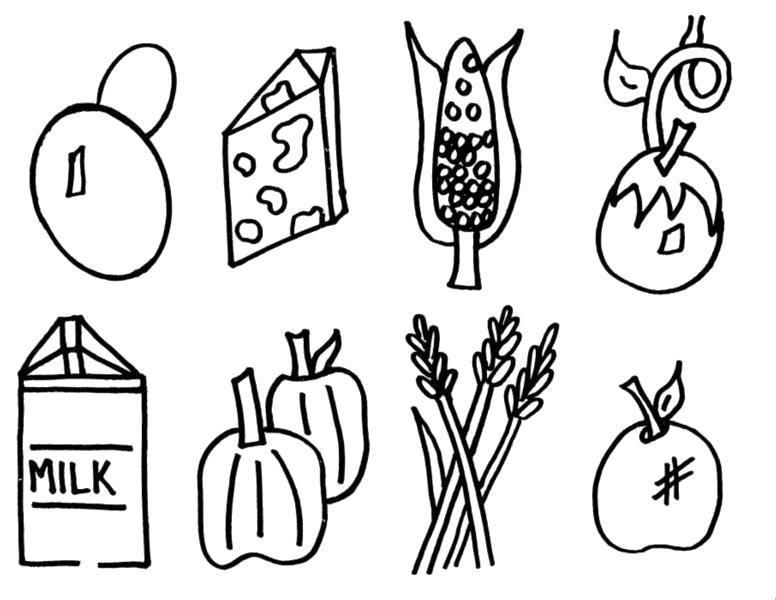 Раскраска  гриб, сыр, кукуруза, яблоко, пшеница, перец, молоко. Скачать продукты.  Распечатать продукты
