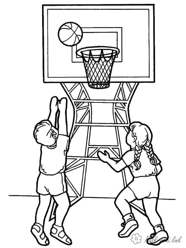 Раскраска  играют баскетбол,дети, спорт, зож. Скачать Баскетбол.  Распечатать Баскетбол
