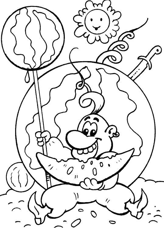 Название: Раскраска Казак с арбузом. Категория: . Теги: .