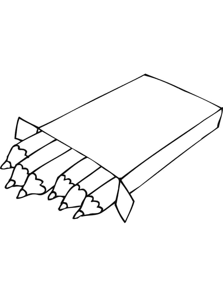 Раскраска Коробка с карандашами. Скачать Карандаш.  Распечатать Карандаш