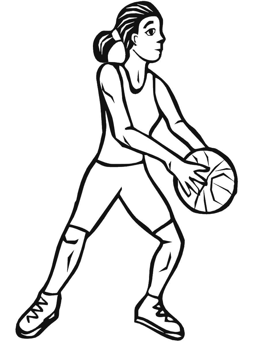 Раскраска  Баскетбол девушка, спортсменка, игра, баскетбол, мяч. Скачать Баскетбол.  Распечатать Баскетбол