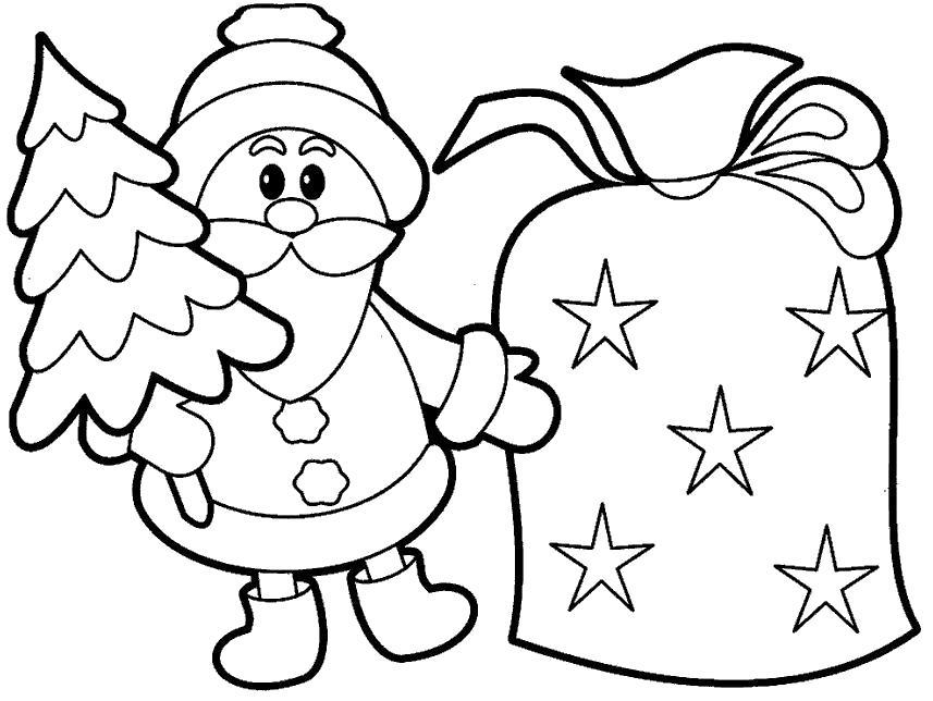 Раскраска Дед мороз с елкой и огромным мешком подарков. Скачать дед мороз с подарками.  Распечатать Дед мороз